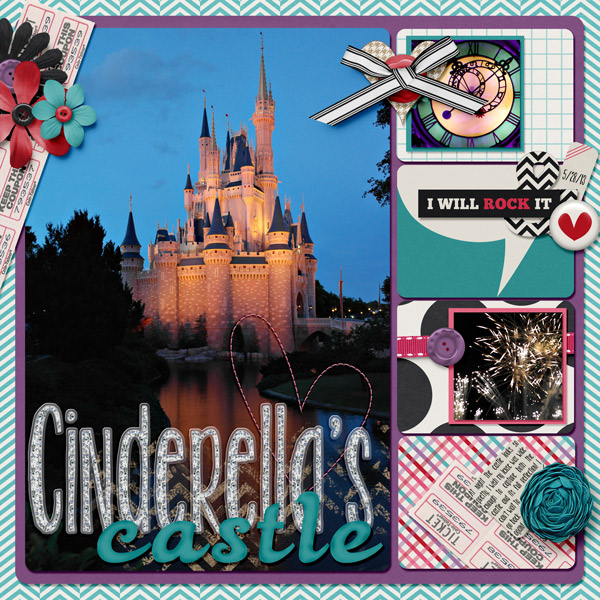 """Cinderella's Castle"" Template: Project Life Journal Card V4 by M&M Designs Kit: Believe In Me by Angie Kovacs"